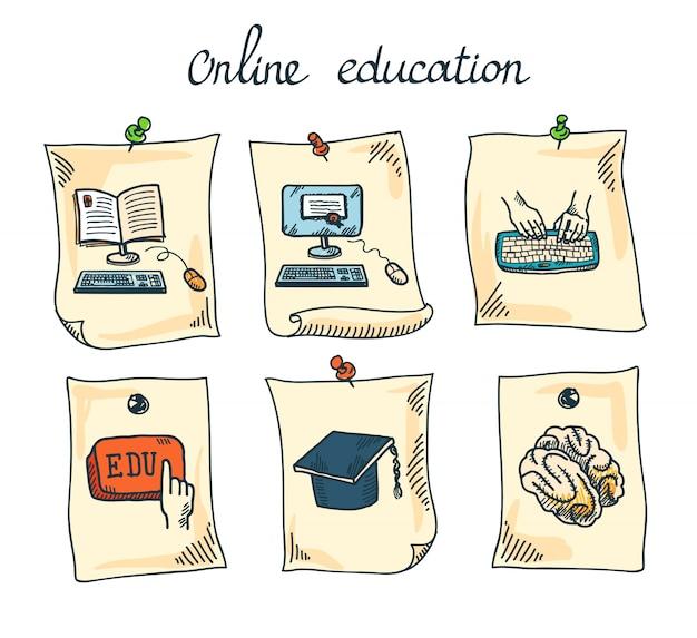 Conjunto de pegatinas de educación en línea. vector gratuito