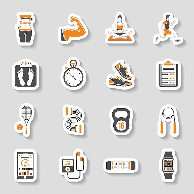 Conjunto de pegatinas de iconos de fitness Vector Premium