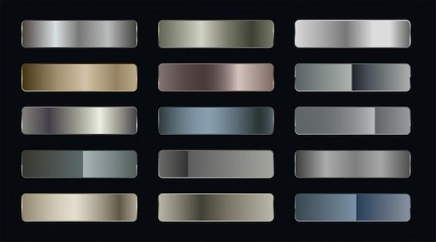 Conjunto de pegatinas metálicas gradientes vector gratuito
