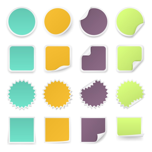 Conjunto de pegatinas multicolores con esquinas redondeadas en diferentes formas. Vector Premium