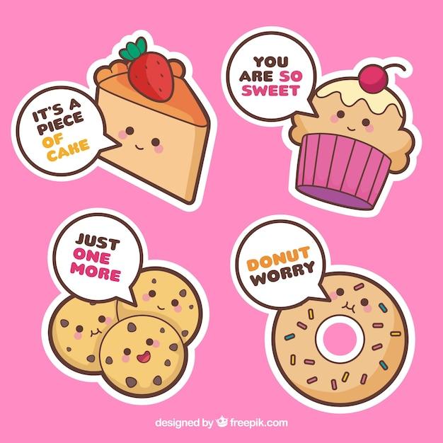 Conjunto de pegatinas de panadería con pasteles y pan vector gratuito