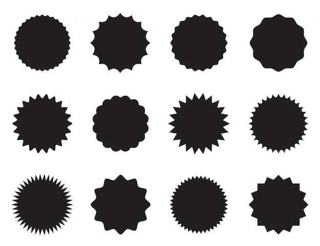 Conjunto de pegatinas redondas con diferentes bordes. Vector Premium