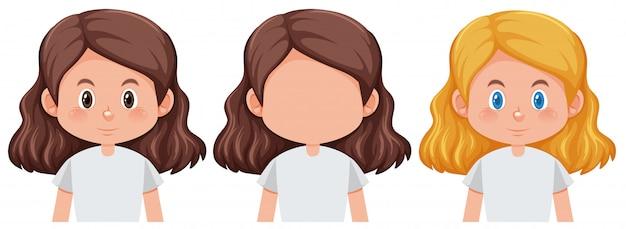 Conjunto de peinado diferente de niña vector gratuito