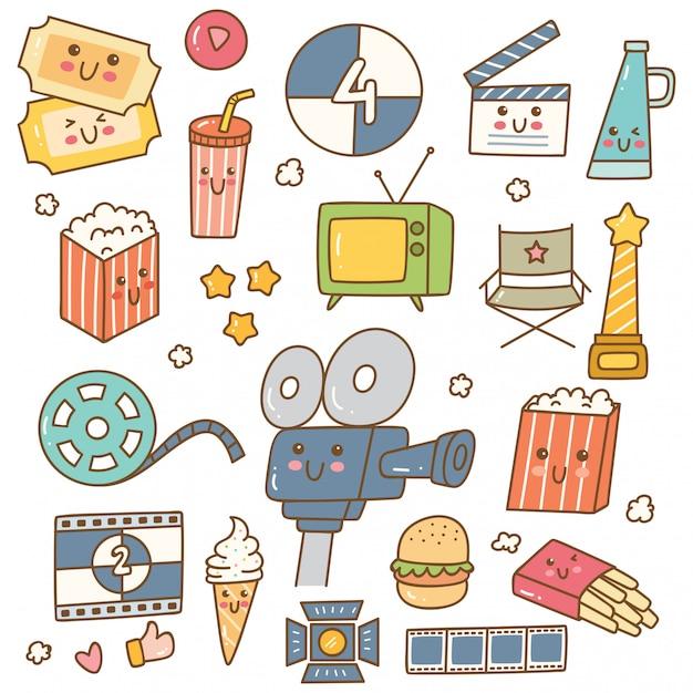 Conjunto de películas de estilo kawaii. Vector Premium