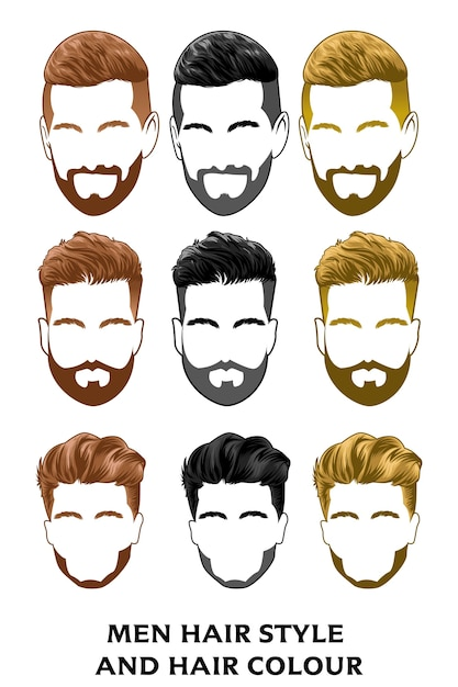 Conjunto de pelo hombres estilo corte de pelo para barbero catálogo de origen Vector Premium