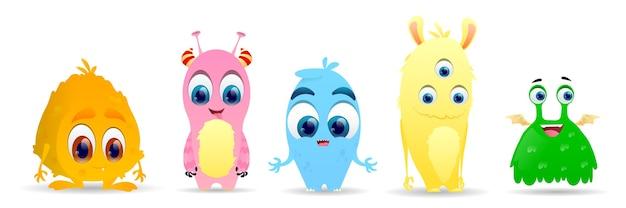 Conjunto de pequeños monstruos lindos. conjunto de caracteres alienígenas lindo mullido Vector Premium