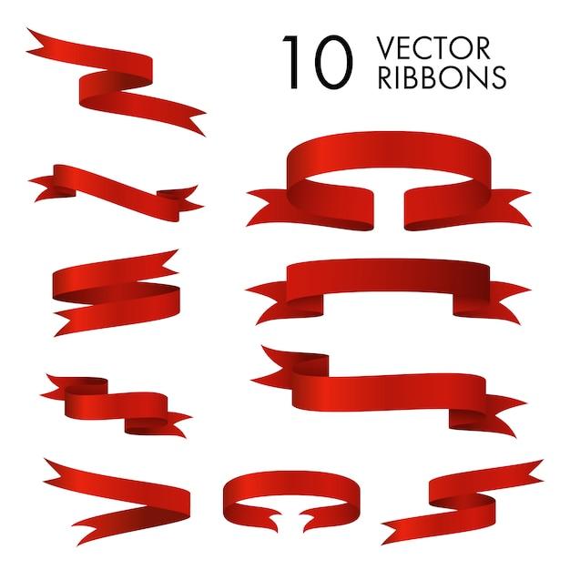 Conjunto de pergaminos de cinta roja vector gratuito