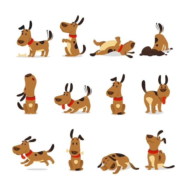 Conjunto de perro de dibujos animados Vector Premium