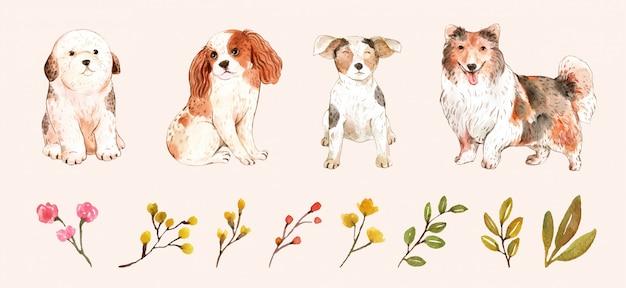 Conjunto de perros graciosos y hojas Vector Premium