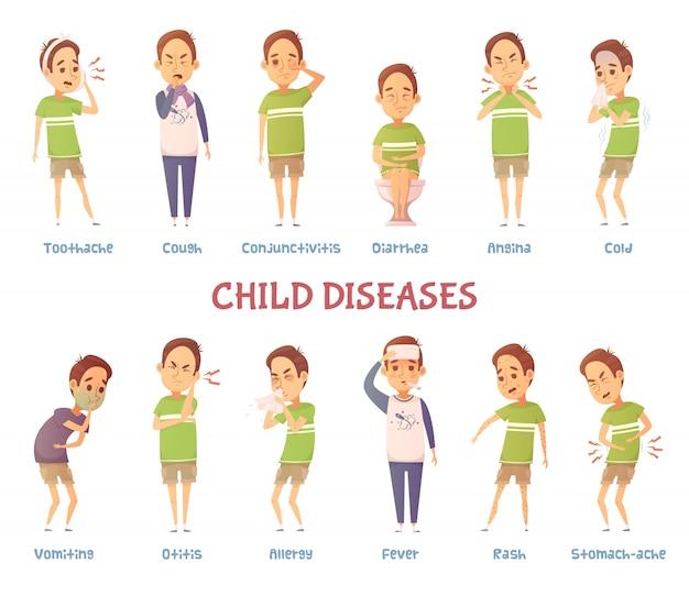Conjunto de personaje de dibujos animados aislados niño que sufre de diferentes síntomas vector gratuito