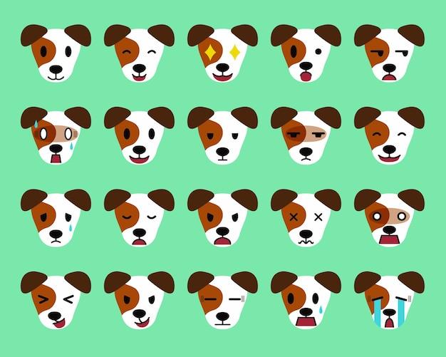 Conjunto De Personaje De Dibujos Animados Jack Russell Terrier Perro