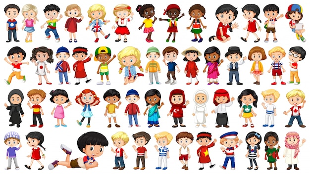 Conjunto de personaje infantil multicultural. vector gratuito