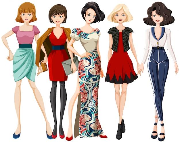 Conjunto de personaje modelo de moda. vector gratuito