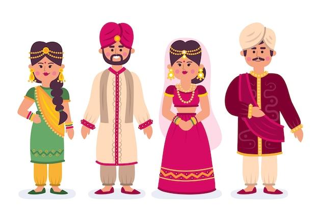 Conjunto de personajes de boda indios vector gratuito