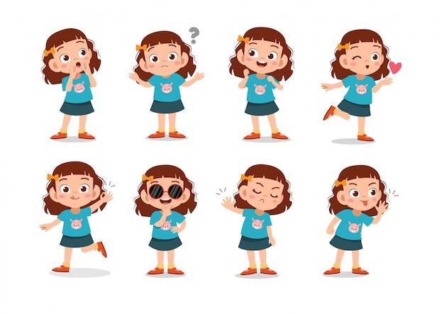 Conjunto de personajes de chicas Vector Premium