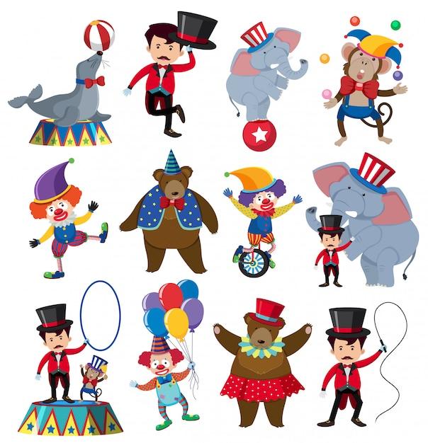 Un conjunto de personajes de circo Vector Premium
