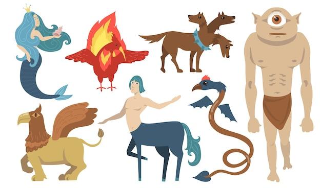 Conjunto de personajes de criaturas míticas. león volador, cíclope, grifo, centauro, sirena, cerberus. para la mitología griega, fantasía, leyenda, cultura, literatura. vector gratuito