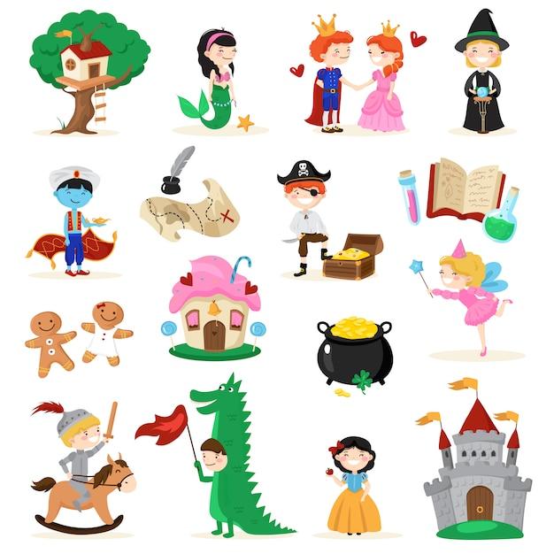 Conjunto de personajes de cuento de hadas. vector gratuito