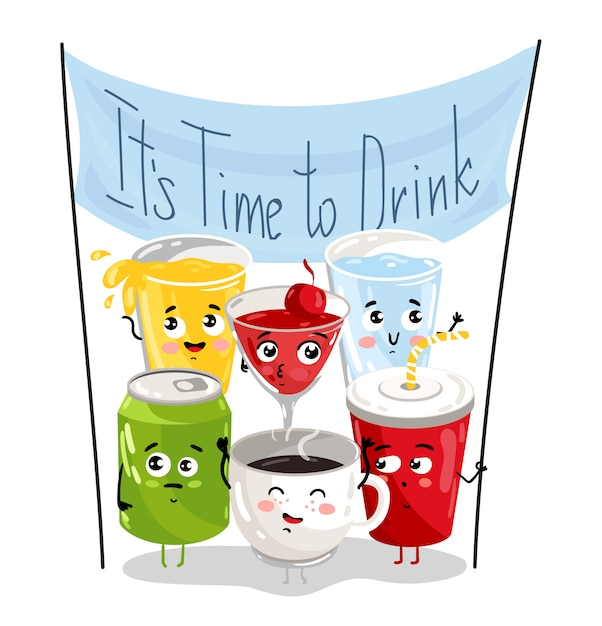 Conjunto de personajes de dibujos animados divertidos bebida Vector Premium