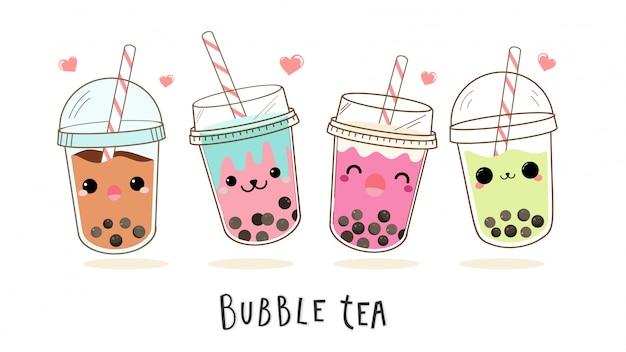 Conjunto de personajes de dibujos animados lindo té de burbuja de leche. Vector Premium