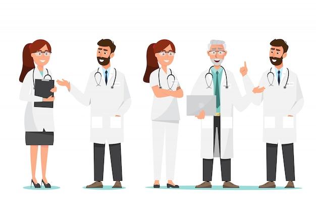 Conjunto de personajes de dibujos animados médico. concepto de equipo de personal médico en el hospital. Vector Premium