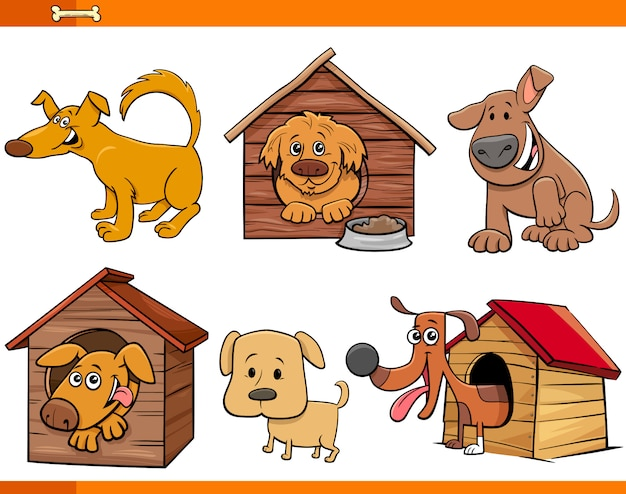 Conjunto de personajes de dibujos animados de perros y cachorros Vector Premium