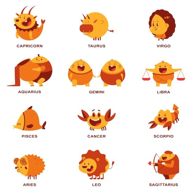 Conjunto de personajes de dibujos animados de signos del zodiaco lindo Vector Premium