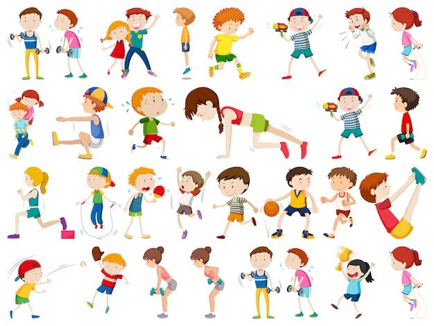Conjunto de personajes del ejercicio. vector gratuito