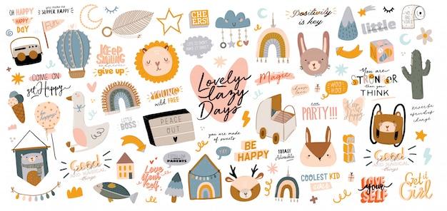 Conjunto de personajes escandinavos para niños lindos que incluyen citas de moda y elementos decorativos dibujados a mano de animales. Vector Premium
