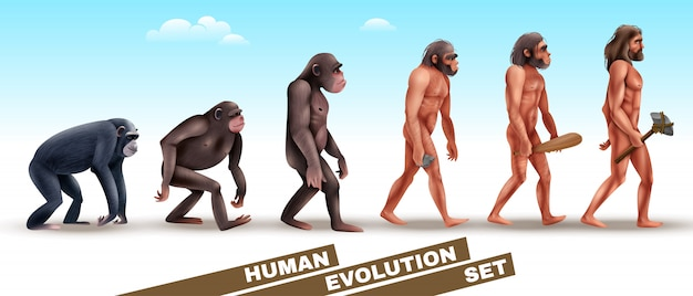 Conjunto de personajes de evolución humana vector gratuito