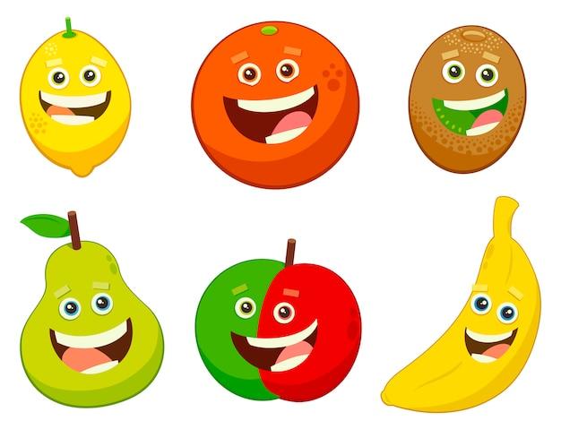 conjunto de personajes de frutas de dibujos animados descargar