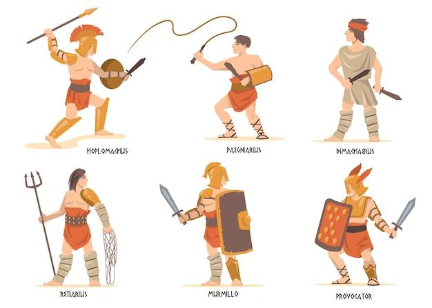 Conjunto de personajes de gladiadores. antiguos guerreros romanos y griegos, personajes de la mitología, soldados espartanos con espadas y escudos. vector gratuito