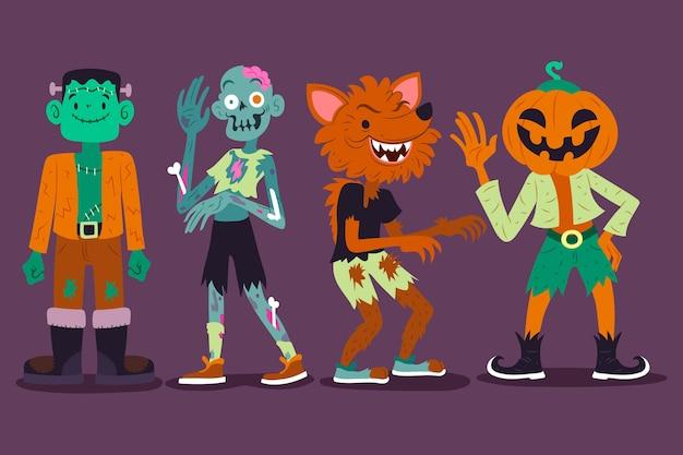Conjunto de personajes de halloween dibujados vector gratuito
