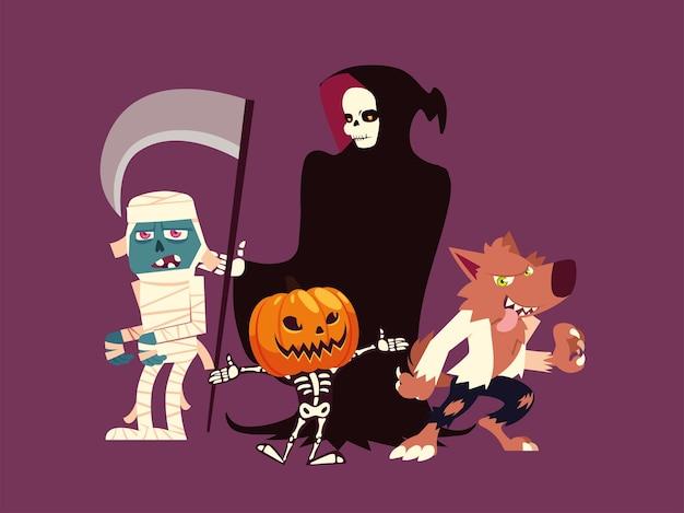 Conjunto de personajes halloween hombre lobo, momia, muerte, calabaza y esqueleto Vector Premium