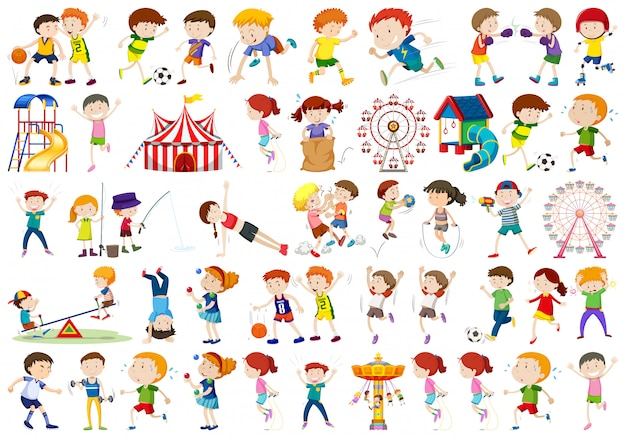 Conjunto de personajes infantiles. vector gratuito