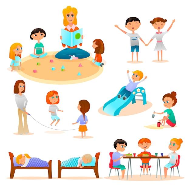 Conjunto de personajes de jardín de infantes vector gratuito