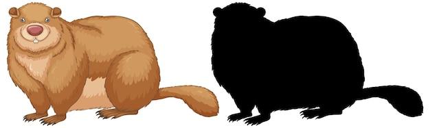 Conjunto de personajes de marmota y su silueta. vector gratuito