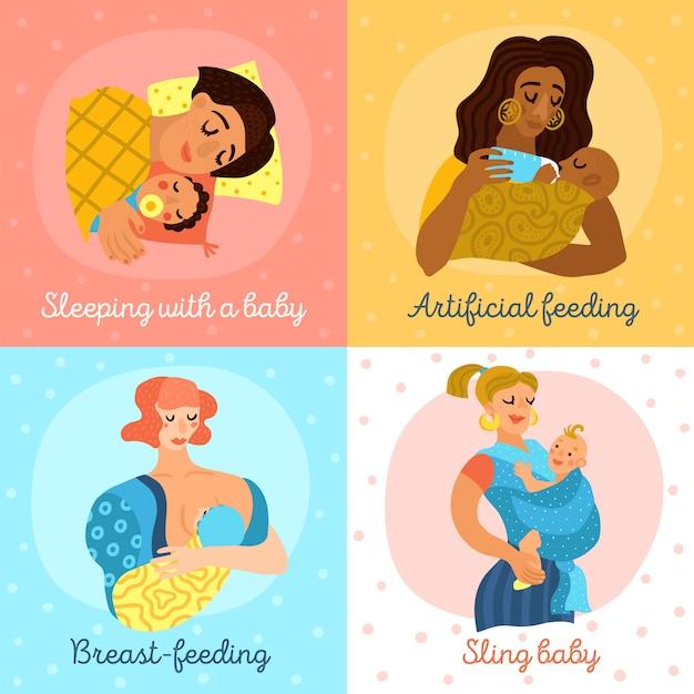 Conjunto de personajes de maternidad vector gratuito