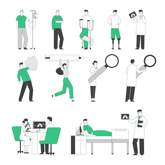 Conjunto de personajes médicos y pacientes. Vector Premium