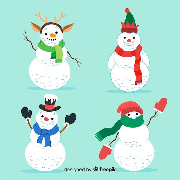 Conjunto de personajes de muñeco de nieve en estilo dibujado a mano vector gratuito