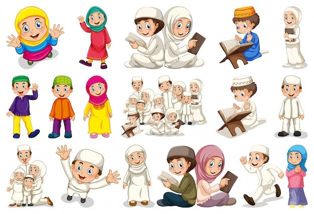 Conjunto de personajes musulmanes. vector gratuito