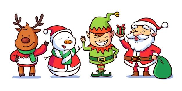 Conjunto de personajes navideños dibujados a mano Vector Premium