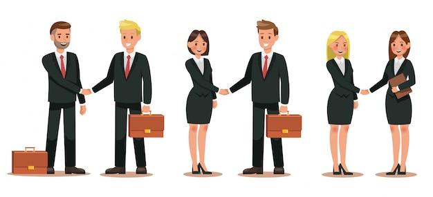 Conjunto de personajes de negocios trabajando en oficina Vector Premium