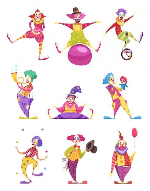 Conjunto de personajes de payasos vector gratuito