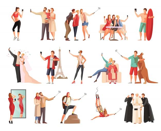 Conjunto de personajes planos de personas modernas que toman fotografías de sí mismos en diferentes situaciones. vector gratuito