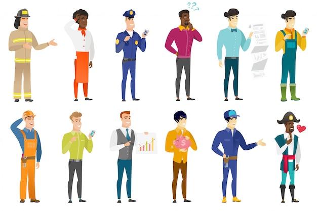 Conjunto de personajes profesionales. Vector Premium