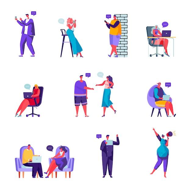Conjunto de personajes de redes sociales de personas planas Vector Premium