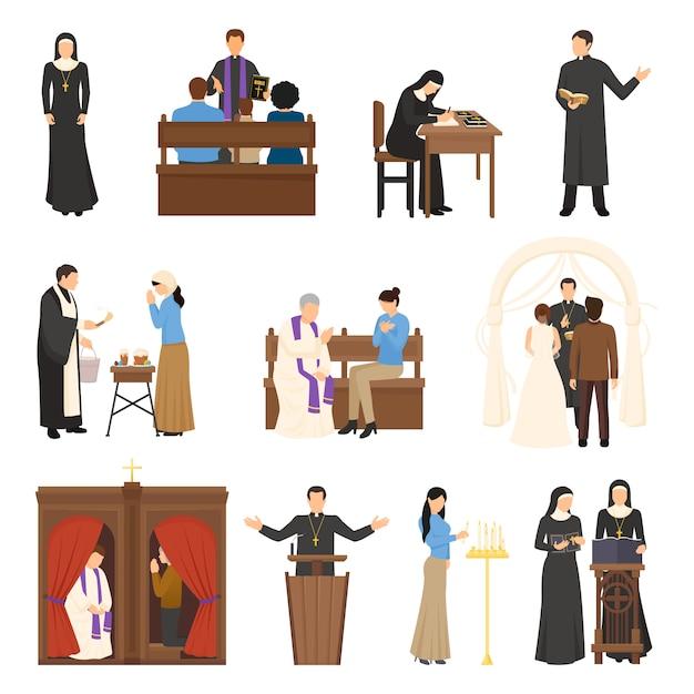 Conjunto de personajes de religión vector gratuito