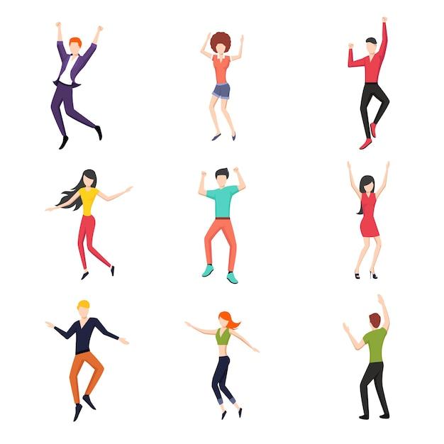 Conjunto de personas bailando en estilo plano. vector gratuito