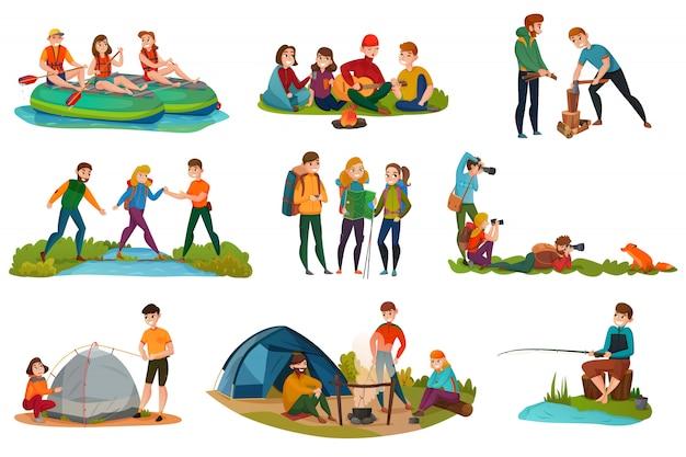 Conjunto de personas de camping vector gratuito